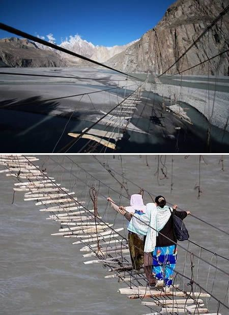 Known as the most dangerous bridge in the world, the Hussaini Hanging Bridge is only one of many precarious rope bridges in Northern #Pakistan.