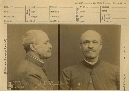 "Alphonse Bertillon: ""Photographie anthropométrique de l'artiste Ringel d'Illzach"" (1903). Técnica: prueba sobre papel albuminado. Corriente: Fotografía científica"