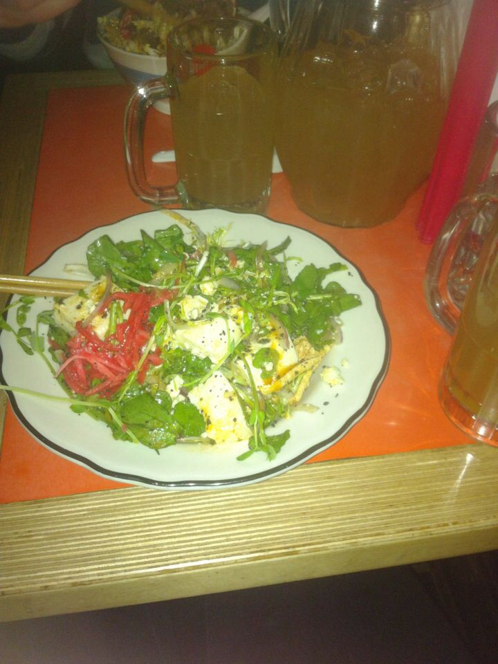 Dinner: Blue cheese and toft salad and sake punch (night out)