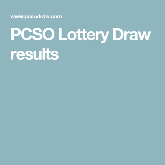 PCSO Lottery Draw results
