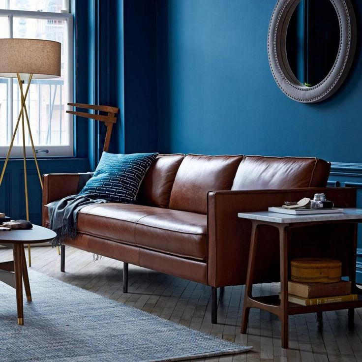 Imagine the Bryant Leather sofa against this Deep blue wall! Wainscoting is also blue. Very dramatic.