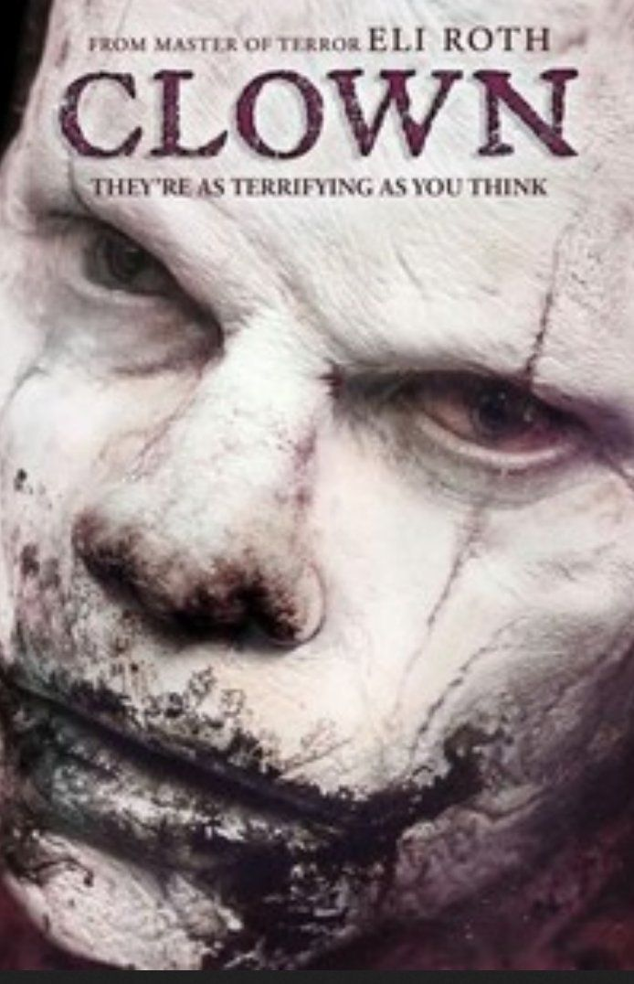 "Clown (2014). Jon Watts, Eli Roth. Expanded version of the short, ""Clowned"" (Scary or Die, '12). Enjoyed this👍 Prefer ""Clowned"" ♥ #Horror 💀 #HorrorMovies #HorrorNerd #Clowns"