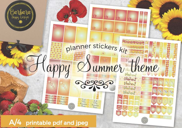 Summer Stickers Kit - Printable planner stickers - Weekly stickers - Summer Decorations - Summer stickers di BarbaraHappyDesign su Etsy