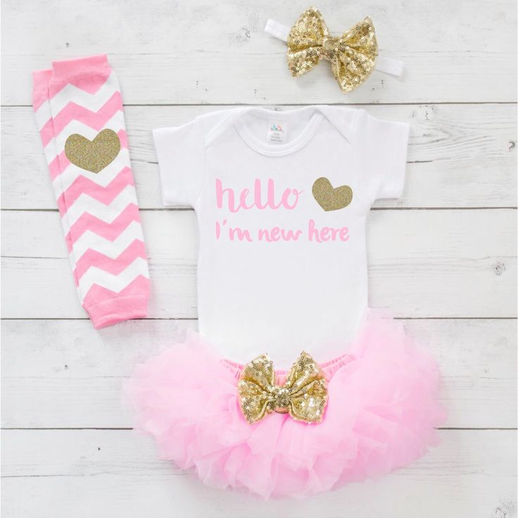 Newborn Girl Coming Home Outfit Baby Girl Take Home Outfit Newborn Baby Girl Bodysuit Tutu Headband Set in Pink and Gold 040S by BumpAndBeyondDesigns on Etsy https://www.etsy.com/listing/485684220/newborn-girl-coming-home-outfit-baby
