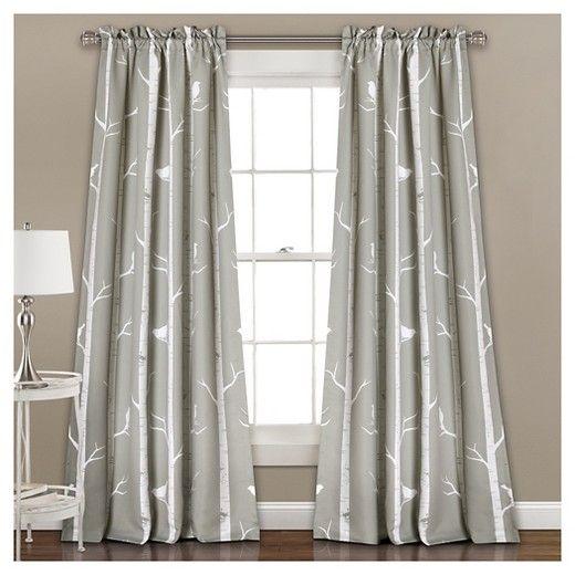 "Bird on the Tree Room Darkening Window Curtain Set Navy (52""x84"") - Lush Décor : Target"