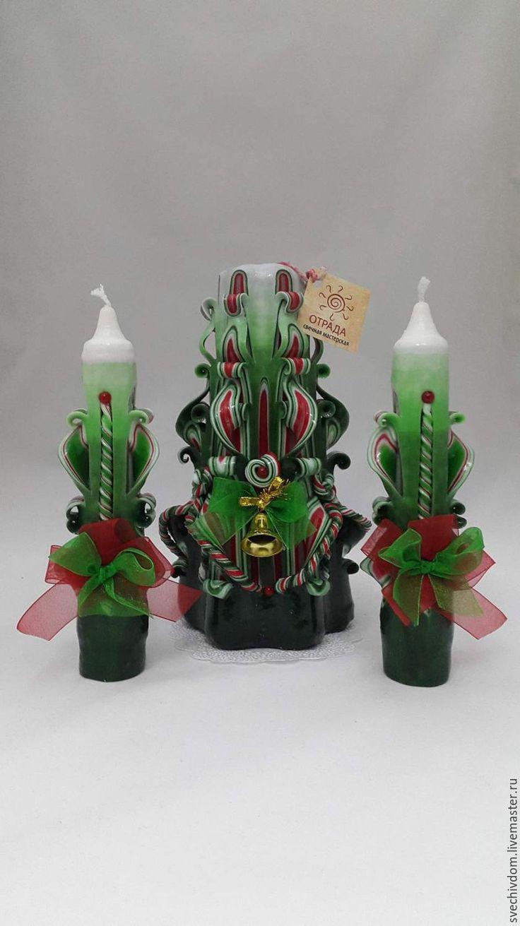 Купить Резные свечи .Новогодний подарочный набор. - зеленый, свечи ручной работы, Свечи
