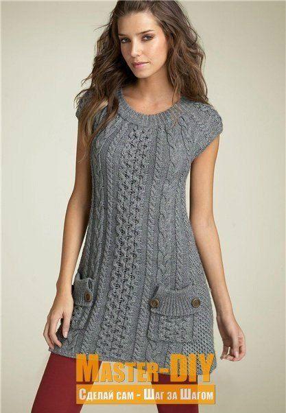 Платье спицами - вяжем красивое платье с интересным узором и кармашками. Платье подходит для повседневной носки.