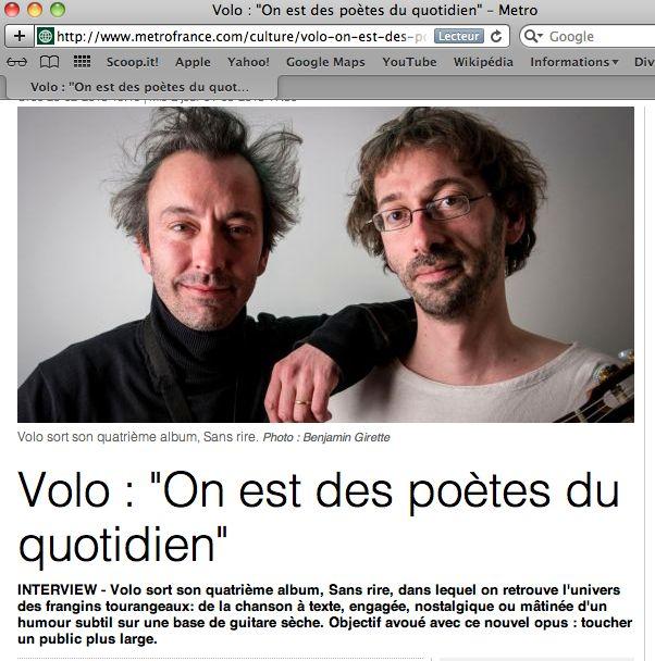 Les Volo en interview et redac' chef sur Metro France ! http://www.metrofrance.com/culture/volo-on-est-des-poetes-du-quotidien/mmbB!bFznWu5XkbkjE/