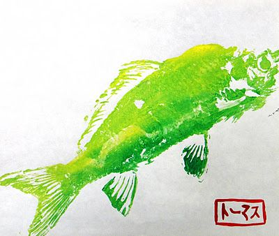 11.17.20114th Grade: Gyotaku Prints     We have been learning about the ancient Japanese art form of fish printing, Gyotaku.