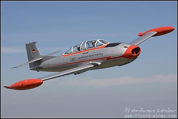 "Hispano Aviacion HA-200 ""Saeta"" (""Arrow"") is one of the last designs fully developed by Willy Messerschmitt. It had its first flight on August, 12th 1955 in Sevilla. This HA-200D was build in Sevilla in 1966 and was one of the last 55 aircraft constructed for the Spanish Air Force (Ejército del Aire). In the 2. Escuadron of Ala 46 it has been used mainly as a trainer with the number 462-67 on its fuselage."