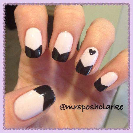 Alternative french #frenchmani #heart #black polish #whitemani #nailart - bellashoot.com