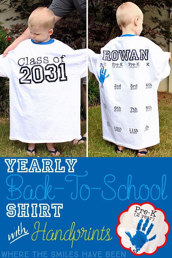 This is AWESOME! Take a picture of your kiddo every year in this shirt with their graduation year on the front, AND get their handprint on the back! Such a fun way to document their growth! Yearly Back-to-School Shirt with Handprints for Every Grade!   Where The Smiles Have Been
