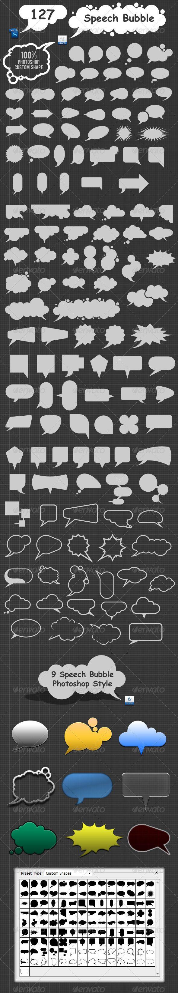 127 Speech Bubble Photoshop Custom Shapes - GraphicRiver Item for Sale