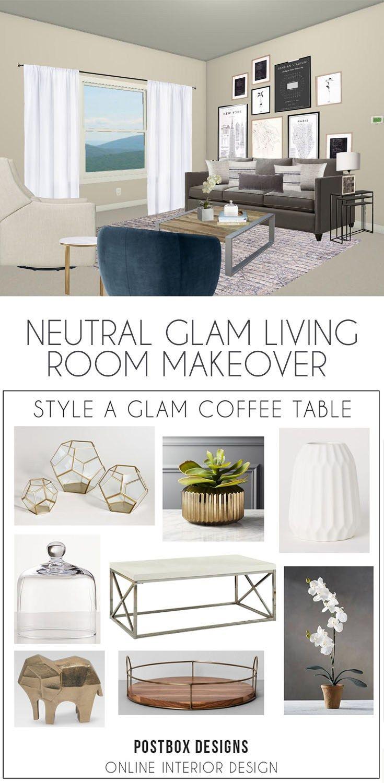 Postbox Designs Interior E Design Elegant Living Room On A Budget Neutral Glam Via Online