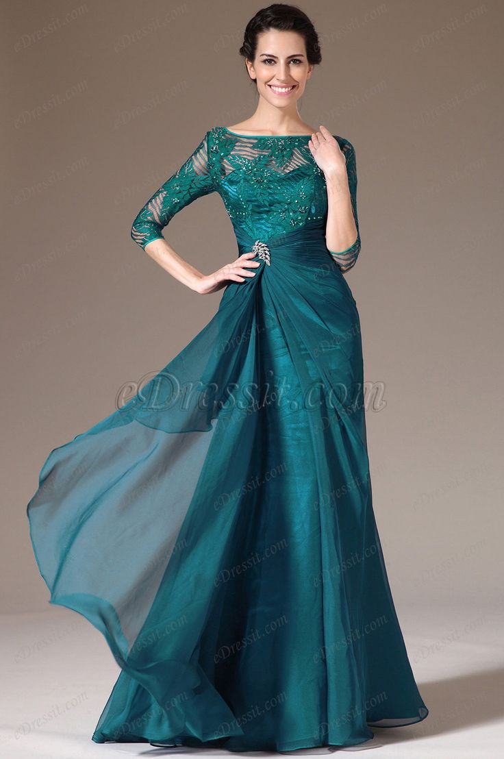 eDressit 2014 New Green Lace Top Half Sleeves Mother of the Bride Dress (26141305)
