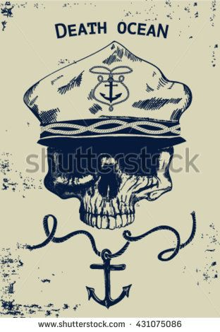 Vintage naval Skull Emblem.Undead Stock captain. Vector illustration of a skeleton smoking a cigar while wearing a leather sailing jacket and captain hat. skull with beard and captain hat. - stock vector
