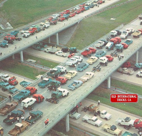 946 International vehicles leaving the Springfield plant  in 1968.