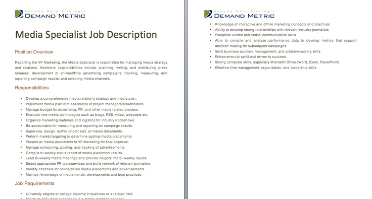 Social Media Specialist Job Description  A Template To Quickly