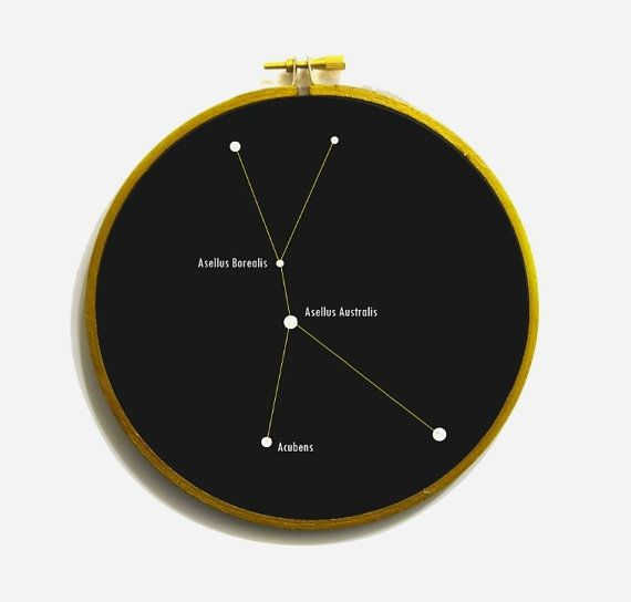 Cancer constellation in embroidery hoop. Cancer star chart, Cancer Wall Decor, Astrology Print,  Constellation Print