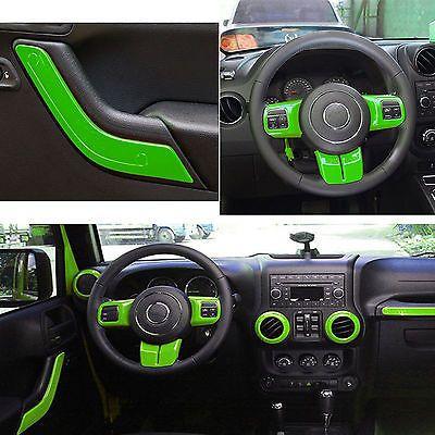 12pcs Green Set Interior Decoration Trim Kit For Jeep Wrangler 2011-2015 4 Door