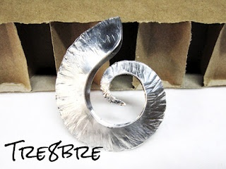 My first spiral in foldforming!  Aluminium foil  Created hand-made by Tre8bre