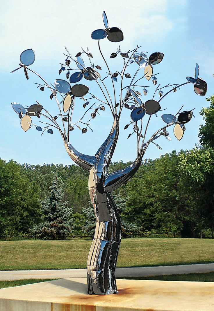 Evolution of Flora Collection, a Stillman Stainless Steel Kinetic Wind Sculpture
