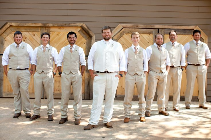 These are the colors of tuxes i want the guys in. My babe in ivory and the groomsmen in tan. With my mix colored blush bridesmaids would look amazing.