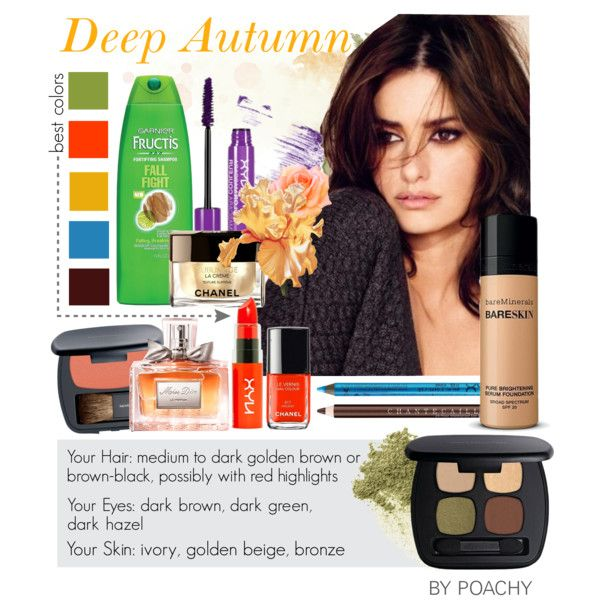 Deep Autumn. by poachy on Polyvore featuring beauty, Bare Escentuals, NYX, Chantecaille, Christian Dior and Chanel