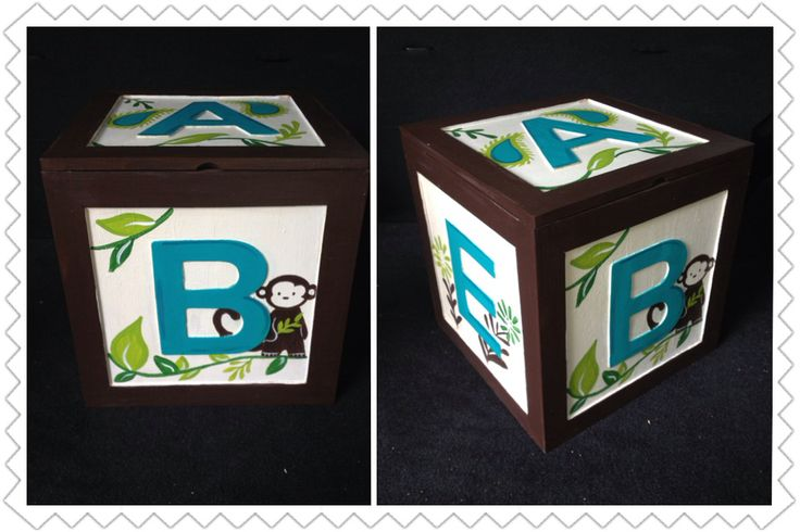 I painted this wooden baby block to match a Safari Monkey nursery theme....