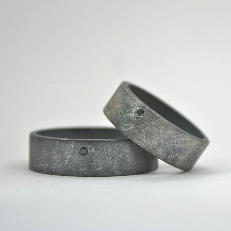 Matching Black Diamond Ring Set – Wedding Bands – Oxidized Sterling Silver – Alternative Artisan – Rough Finish