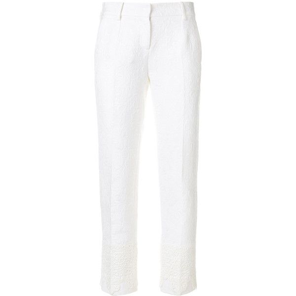 Dolce & Gabbana brocade cropped trousers (337.275 HUF) via Polyvore featuring pants, capris, white, cropped trousers, brocade trousers, white crop pants, side pocket pants and brocade pants