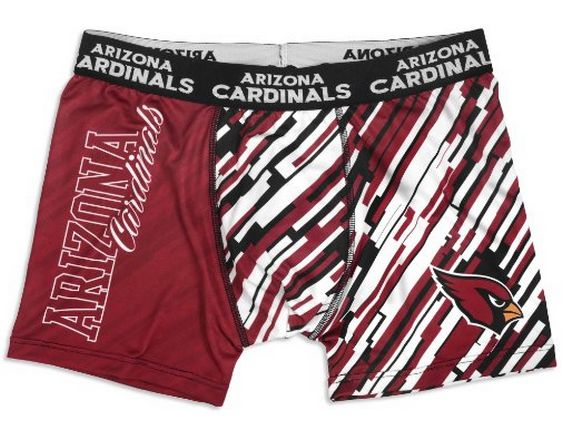 Arizona Cardinals Official NFL Compression Underwear:  You need a pair of boxer shorts that aren't going to ride up while you're getting your workout in. These Arizona Cardinals compression boxer shorts are perfect for you. They feature sublimated Arizona Cardinals graphics and an elastic waist that will help you get into shape.