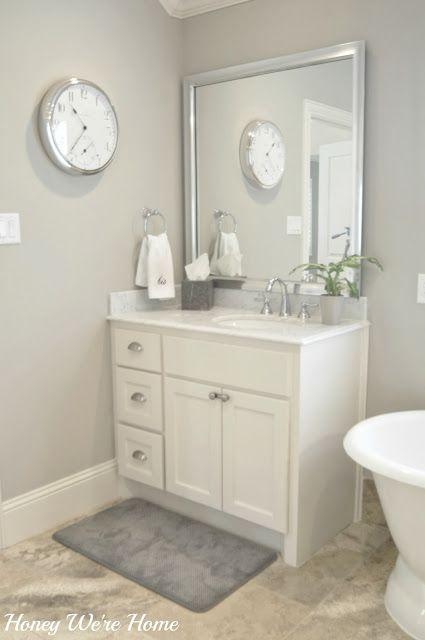 Divine white trim, anew grey walls
