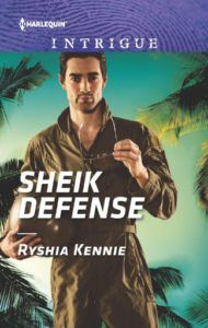 Sheik Defense  by Ryshia Kennie  ~~~~~~~~~~~~~  GENRE:   Romantic Suspense  ~~~~~~~~~~~~~  BLURB:  Tossed overboard, Ava Adams had been left for dead, drifting at sea.  But security specialist Faisal Al-Nassar was determined to find her.  He owed her fath