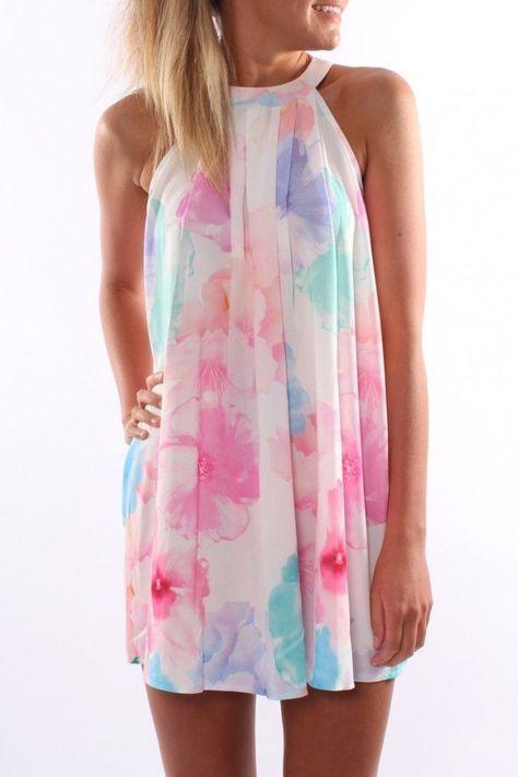watercolor high neck dress