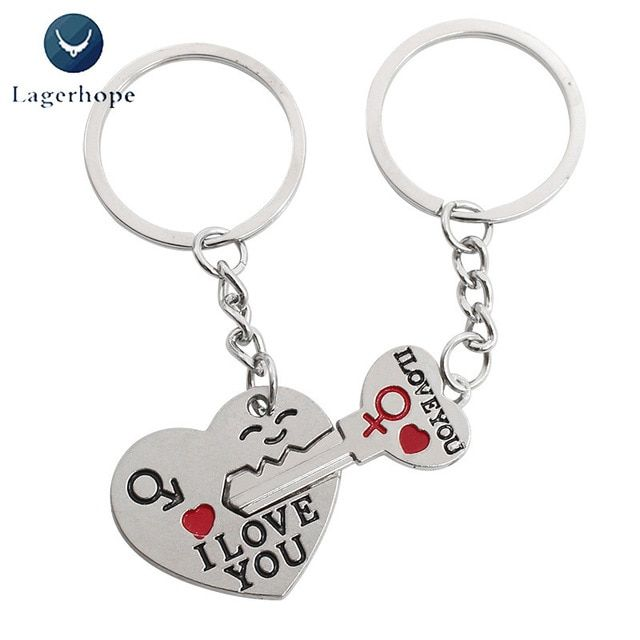 Love You Forever Engraved Silver Metal Couple Keyrings Lovers Puzzle Key Chains
