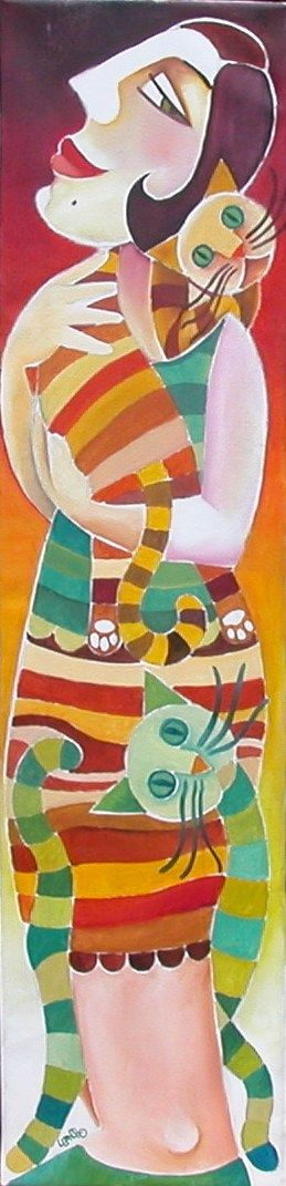 Leandro Lamas. Woman with cats