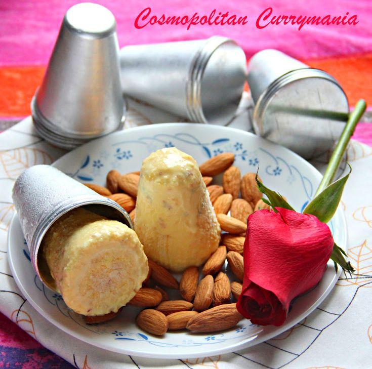 Kesar Badam Kulfi (Indian Milk Ice Cream with Saffron and Almonds)