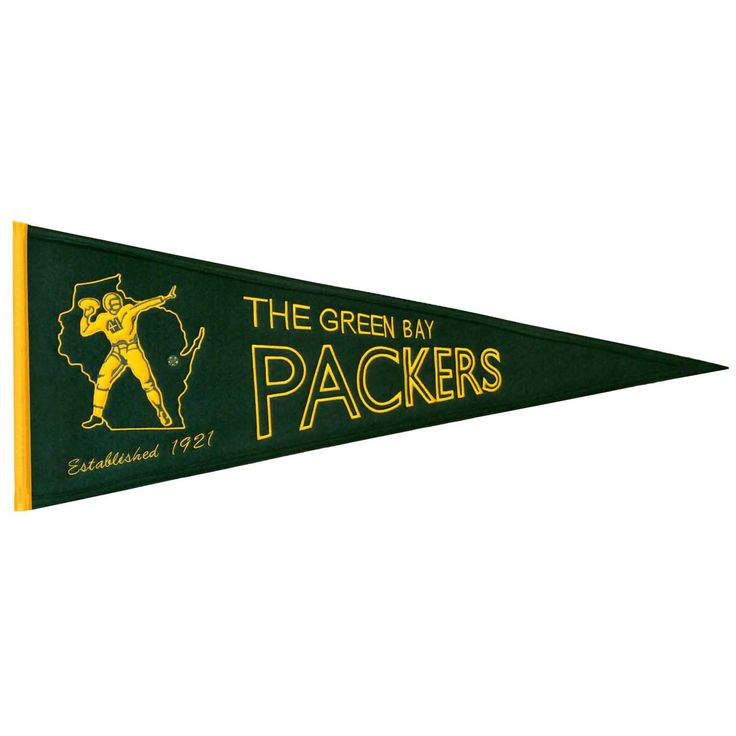 """This beautifully embroidered pennant is 32"""" x 13"""" and is retro-designed to capture the look and feel of a bygone era. A """"Must Have"""" for all Green Bay Packers super-fans."""