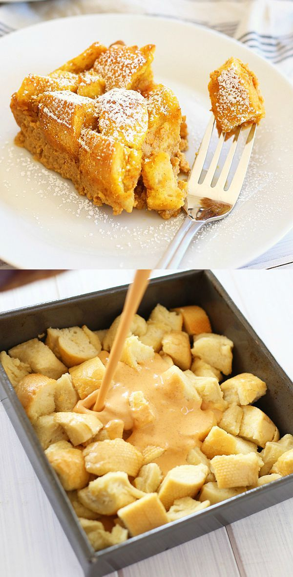 Pumpkin Bread Pudding – turn leftover bread into this amazing and seasonal dessert loaded with pumpkin spice and egg custard, so good!
