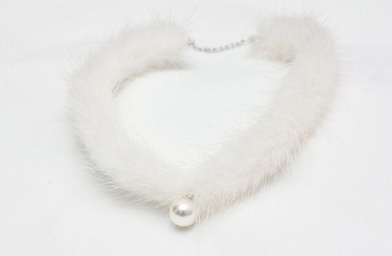 White Mink Pearl Choker Fur Choker Unique Choker for by Jikum