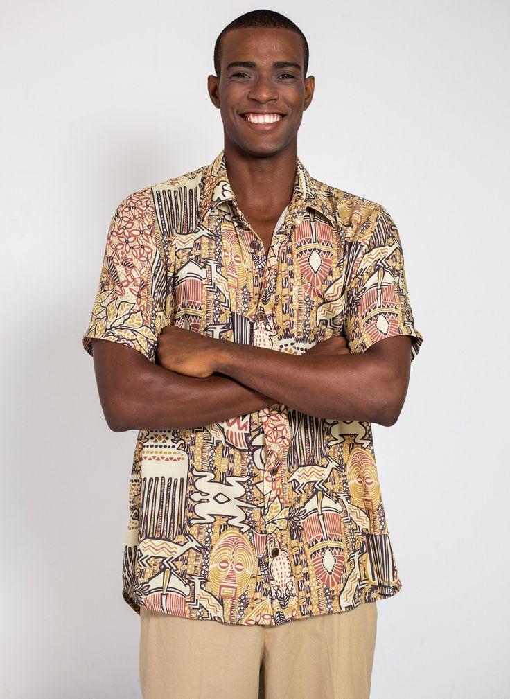 Camisa de botão estampa África Africana original Goya Lopes Design  Brasileiro bc059161e97b2