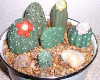 CAREFREE  CACTUS  BOWL  Hand Painted Rock Garden
