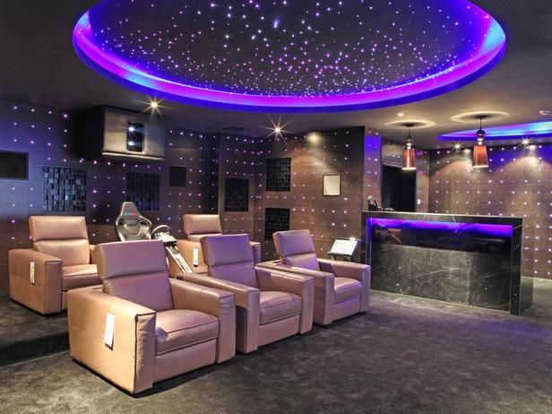 Home Theater Design - Husband likes the lights on the wall