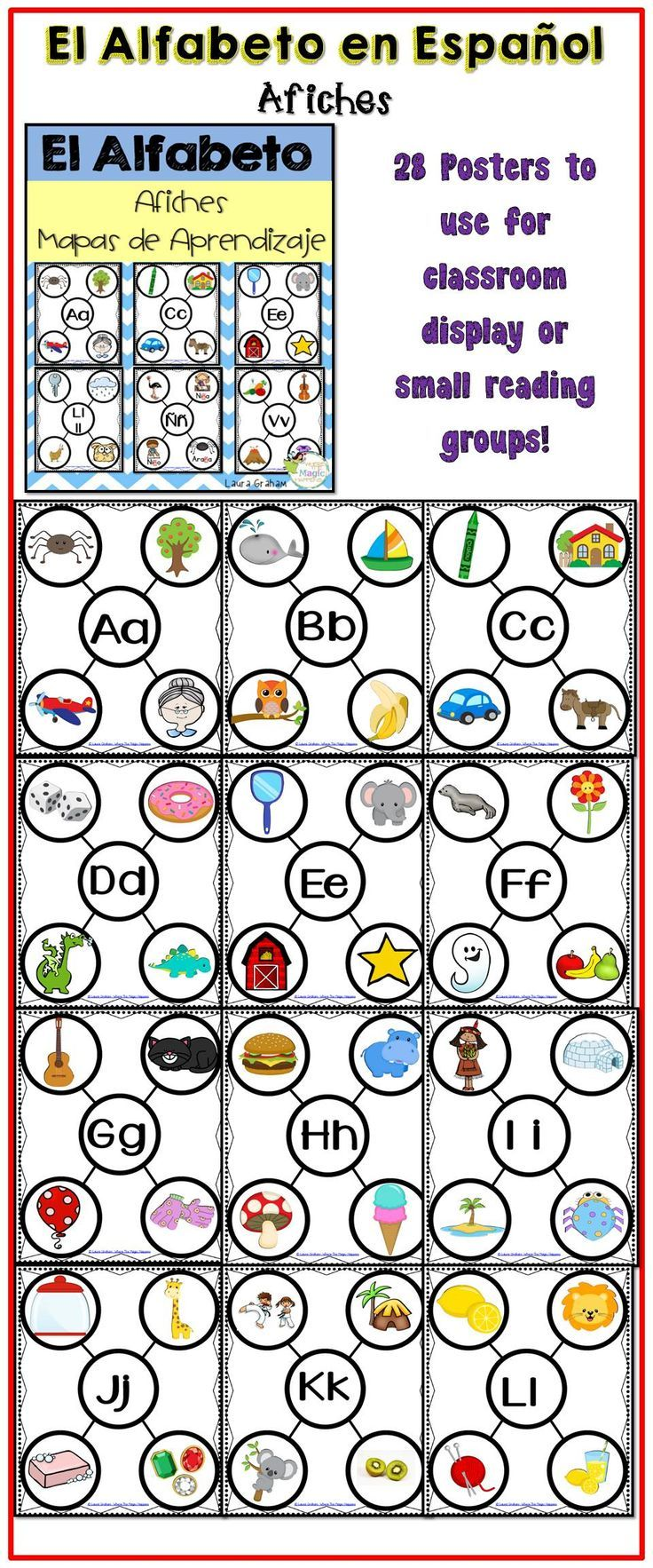 Alphabet posters in Spanish for  bilingual classrooms. Perfect for phonemic awareness.