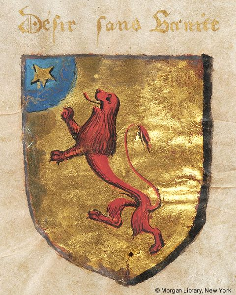 Escutcheon decorated with heraldry (or a lion rampant gules, on a rounded canton azure a mullet or) with motto above DESIR SANS VANITE | Book of Hours | France, Paris | ca. 1470–1480 | The Morgan Library & Museum