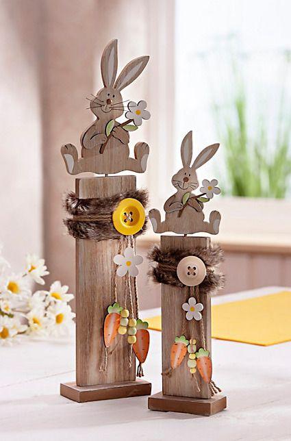 2 Holz Deko Sockel Säulen Häschen Osterhase Hase…
