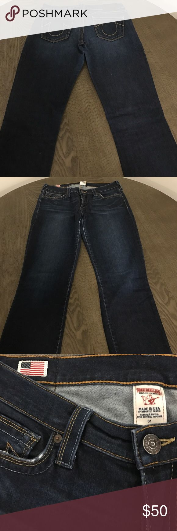 """True Religion Women's Sz 31 slim fit Jeans True Religion women's slim fit Sz 31 denim. Previously worn but they no longer fit. Well taken care of and from a smoke free and pet free home. I am 5'11"""" and they fit perfect length wise. True Religion Jeans Straight Leg"""
