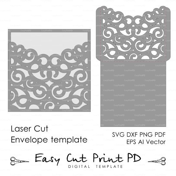 Scroll Wedding Envelope pattern Template swirl cutting file K101 (svg, dxf, ai, eps, png, pdf) laser cut Silhouette Cameo Instant Download