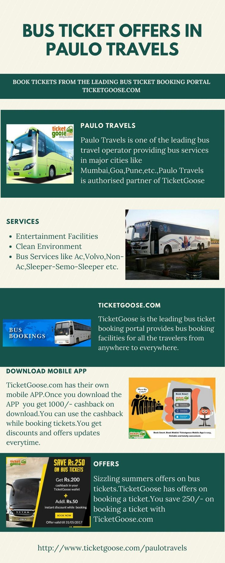 Paulo Travels provides the bus ticket booking to the major cities, Book the tickets for Paulo travels at ticket goose at the best fare with best service   http://www.ticketgoose.com/paulotravels